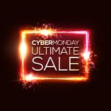 Cyber Monday ultimate sale text in neon rectangle. Cyber Monday ultimate sale text in neon shining rectangle sign on dark red background. Glowing electric led vector illustration