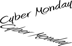 Cyber Monday Words. The words Cyber Monday in handwriting font with reflection Royalty Free Stock Photo