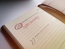 Cyber Monday - written in calendar. Fancy description written in calendar. Warm colors royalty free stock images