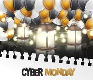 Cyber MondaySale poster or flyer with shiny balloons, glowing lights garland and lanterns with surface reflection under torn out s