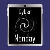 Cyber-Montag-Aufschrift auf dem Tablettenschirm lizenzfreies stockbild