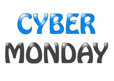 Cyber-Montag-Beschriftungstext auf einem weißen Hintergrund Stockbilder