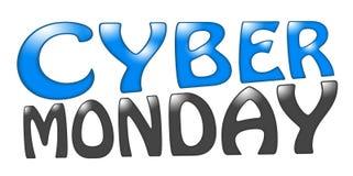 Cyber-Montag-Beschriftungstext auf einem weißen Hintergrund Lizenzfreies Stockfoto