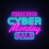 Cyber-Montag-Fahne in der modernen Neonart, leuchtendes Schild, nächtliche Werbungsanzeige von Erlößschmälerungen von Vektor Abbildung