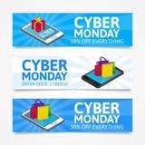 Cyber-Montag-Fahnen Isometrische Smartphones mit Geschenkbox und bunten Papiertüten auf weißem background Stockbilder