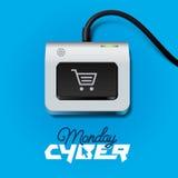 Cyber-Montag-Knopf auf Tastatur Stockfotografie