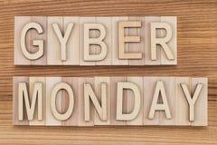 Cyber Montag - on-line-Einkaufs- und Marketing-Konzept - Text, flehen an Stockbild