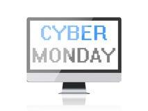 Cyber Montag - Pixeltext auf Bildschirm Stockfotografie