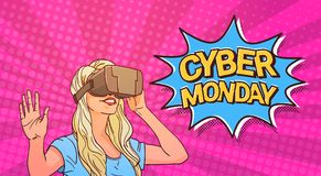 Cyber-Montag-Plakat mit der Frau, die Glas-komische Verkaufs-Mitteilungs-Fahne der virtuellen Realität 3d mit Pin Up Background t Lizenzfreies Stockfoto