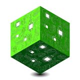 Cyber Montag Rabatttag in den Online-Shops Abstrakter techno 3D Würfel, Illustration eines Mikrokreislaufs stock abbildung