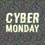 Cyber-Montag-Störschubtext Effekt des Anaglyph 3D Technologischer Retro- Hintergrund auf weißem background Verkauf, E-Commerce Lizenzfreies Stockbild