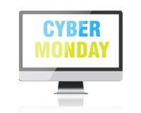 Cyber Montag - Text auf Bildschirm Lizenzfreie Stockfotos