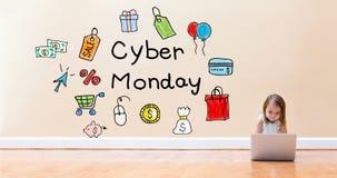 Cyber-Montag-Text mit dem kleinen Mädchen, das eine Laptop-Computer verwendet stockfoto