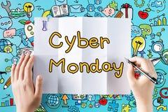 Cyber-Montag-Text mit den Händen Stockfotografie
