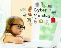 Cyber-Montag-Text mit kleinem Mädchen stockfotografie