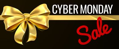 Cyber-Montag-Verkaufs-Goldgeschenk-Bogen-Band-Design Stockfotografie