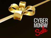 Cyber-Montag-Verkaufs-Goldgeschenk-Bogen-Zeichen Stockbild