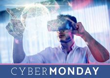 Cyber-Montag-Verkaufs-Mann, der vergrößerte Wirklichkeit verwendet lizenzfreie stockfotografie