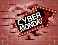 Cyber-Montag-Verkaufs-Pfeil, der durch Wand bricht Lizenzfreies Stockbild