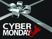 Cyber-Montag-Verkaufs-Silber-Band-Geschenk-Bogen-Design Stockfotografie
