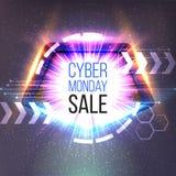 Cyber-Montag-Verkaufsfahne mit Rahmen und dem Glühen strahlt aus Lizenzfreie Stockfotos