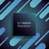 Cyber-Montag-Verkaufsfahnen-Vektorkonzept in 3d mit modernem Formmusterhintergrund Sonderangebotförderung, beste Abkommen stock abbildung