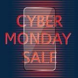 Cyber-Montag-Verkaufsglasikone lokalisiert auf einem dunklen Hintergrundvektor Lizenzfreies Stockbild