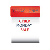 Cyber-Montag-Verkaufsikonen-Unternehmenform lokalisiert auf einem schwarzen Hintergrundvektor Lizenzfreie Stockfotografie
