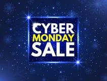 Cyber-Montag-Verkaufskonzeptfahne Leuchtendes Schild, nächtliche Werbung Hintergrund des jährlichen Verkaufs Gute Abkommen-Förder stock abbildung
