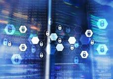 Cyber ochrona, dane ochrona, ewidencyjna prywatność Interneta i technologii pojęcie Obraz Stock