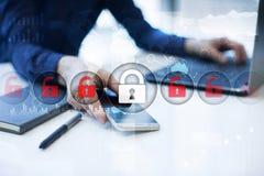 Cyber ochrona, dane ochrona, ewidencyjny bezpieczeństwo Internetowy technologii pojęcie Obrazy Royalty Free