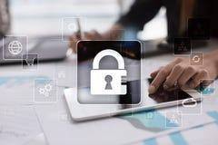 Cyber ochrona, dane ochrona, ewidencyjny bezpieczeństwo Technologia biznesu pojęcie fotografia stock