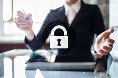 Cyber ochrona, dane ochrona, ewidencyjny bezpieczeństwo Technologia biznesu pojęcie Zdjęcia Stock