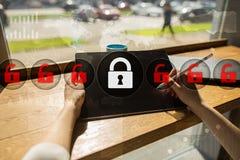 Cyber ochrona, dane ochrona, ewidencyjny bezpieczeństwo Technologia biznesu pojęcie Obrazy Stock