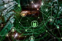 Cyber ochrona, ewidencyjna prywatność, dane ochrony pojęcie na nowożytnym serweru pokoju tle Interneta i technologii cyfrowej prz royalty ilustracja