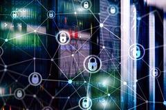 Cyber ochrona, ewidencyjna prywatność, dane ochrony pojęcie na nowożytnym serweru pokoju tle Internetowy i cyfrowy zdjęcie royalty free
