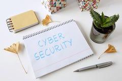 Cyber ochrona pisać w notatniku fotografia stock
