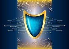 Cyber ochrony antivirus pojęcie z złocistą błękitną osłoną, futurysta ilustracja wektor