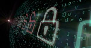 Cyber ochrony cyfrowego tła niekończący się animacja royalty ilustracja