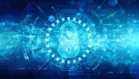 Cyber ochrony i internet ochrony tło, kędziorek na cyfrowym tle zdjęcia stock