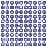 100 cyber ochrony ikon sześciokąta purpur ilustracji