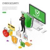 Cyber ochrony Isometric pojęcie royalty ilustracja