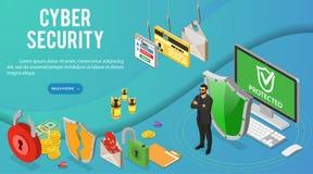 Cyber ochrony Isometric sztandar ilustracji