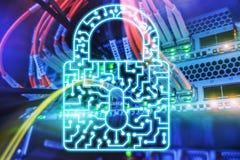 Cyber ochrony kędziorka ikony prywatności dane ochrony Ewidencyjny internet i technologii pojęcie serw zdjęcia stock