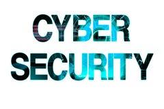 Cyber ochrony laserowy writing na białym tle Fotografia Royalty Free