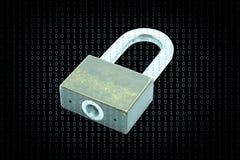 Cyber ochrony pojęcie, ochrona krytyczna informacja dojazdowym kodem obrazy stock