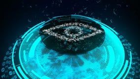 Cyber ochrony przyrząd sprawdzać oko formę royalty ilustracja
