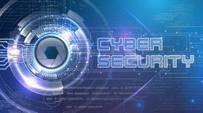 Cyber ochrony temat z futurystycznym okiem Obrazy Royalty Free