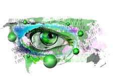 Cyber oko monitoruje Internetowych u?ytkownik obraz stock