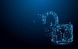 Cyber Otwiera ochrony pojęcie Kędziorka symbolu forma wykłada i trójboki, punkt złączona sieć na błękitnym tle royalty ilustracja